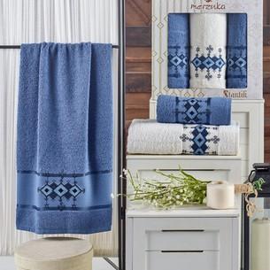 Подарочный набор полотенец для ванной 50х90(2), 70х140(1) Merzuka OTANTIC хлопковая махра темно-голубой