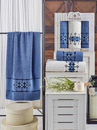 Подарочный набор полотенец для ванной 50х90(2), 70х140(1) Merzuka OTANTIC хлопковая махра темно-голубой, фото, фотография