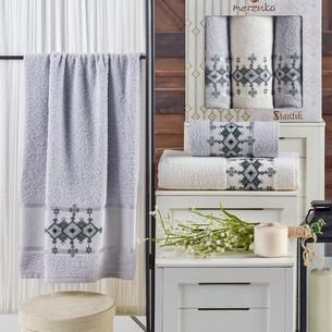 Подарочный набор полотенец для ванной 50х90(2), 70х140(1) Merzuka OTANTIC хлопковая махра светло-серый