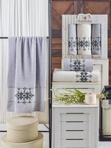 Подарочный набор полотенец для ванной 50х90(2), 70х140(1) Merzuka OTANTIC хлопковая махра светло-серый, фото, фотография