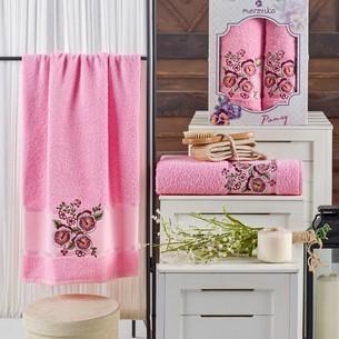 Подарочный набор полотенец для ванной 50х90, 70х140 Merzuka PANSY хлопковая махра розовый