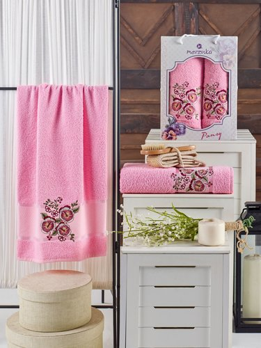 Подарочный набор полотенец для ванной 50х90, 70х140 Merzuka PANSY хлопковая махра розовый, фото, фотография