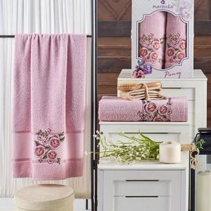 Подарочный набор полотенец для ванной 50х90, 70х140 Merzuka PANSY хлопковая махра светло-розовый