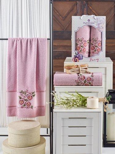 Подарочный набор полотенец для ванной 50х90, 70х140 Merzuka PANSY хлопковая махра светло-розовый, фото, фотография