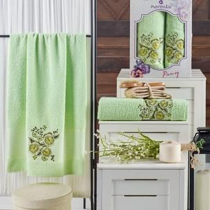 Подарочный набор полотенец для ванной 50х90, 70х140 Merzuka PANSY хлопковая махра фисташковый