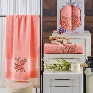 Подарочный набор полотенец для ванной 50х90, 70х140 Merzuka PANSY хлопковая махра оранжевый