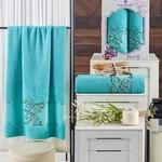 Подарочный набор полотенец для ванной 50х90, 70х140 Merzuka PANSY хлопковая махра бирюзовый, фото, фотография