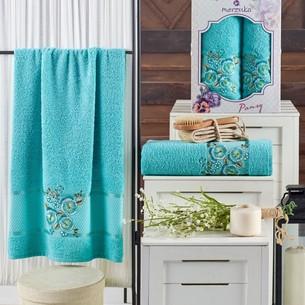 Подарочный набор полотенец для ванной 50х90, 70х140 Merzuka PANSY хлопковая махра бирюзовый