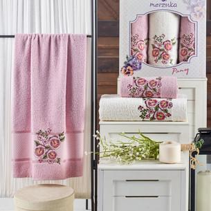 Подарочный набор полотенец для ванной 50х90(2), 70х140(1) Merzuka PANSY хлопковая махра светло-розовый
