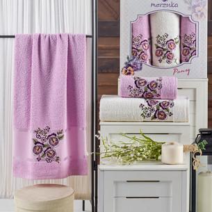 Подарочный набор полотенец для ванной 50х90(2), 70х140(1) Merzuka PANSY хлопковая махра сиреневый