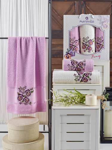 Подарочный набор полотенец для ванной 50х90(2), 70х140(1) Merzuka PANSY хлопковая махра сиреневый, фото, фотография