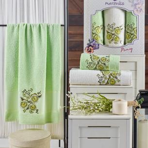 Подарочный набор полотенец для ванной 50х90(2), 70х140(1) Merzuka PANSY хлопковая махра фисташковый