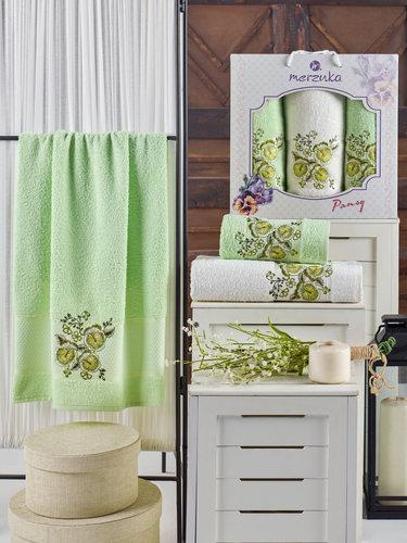 Подарочный набор полотенец для ванной 50х90(2), 70х140(1) Merzuka PANSY хлопковая махра фисташковый, фото, фотография