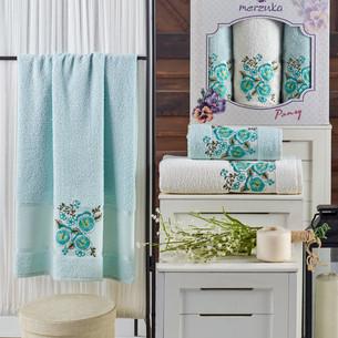 Подарочный набор полотенец для ванной 50х90(2), 70х140(1) Merzuka PANSY хлопковая махра мятный