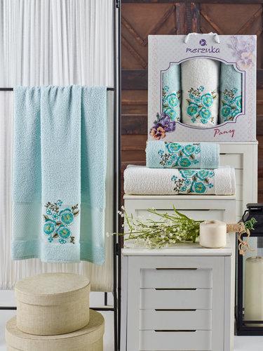 Подарочный набор полотенец для ванной 50х90(2), 70х140(1) Merzuka PANSY хлопковая махра мятный, фото, фотография