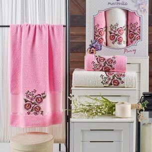 Подарочный набор полотенец для ванной 50х90(2), 70х140(1) Merzuka PANSY хлопковая махра розовый