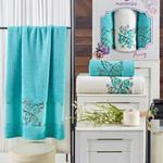 Подарочный набор полотенец для ванной 50х90(2), 70х140(1) Merzuka PANSY хлопковая махра бирюзовый, фото, фотография