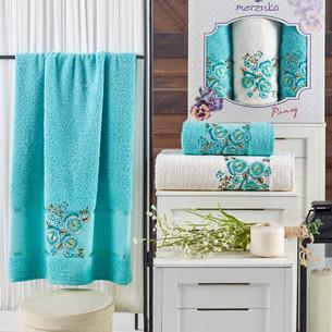 Подарочный набор полотенец для ванной 50х90(2), 70х140(1) Merzuka PANSY хлопковая махра бирюзовый