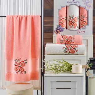 Подарочный набор полотенец для ванной 50х90(2), 70х140(1) Merzuka PANSY хлопковая махра оранжевый
