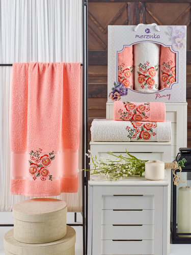 Подарочный набор полотенец для ванной 50х90(2), 70х140(1) Merzuka PANSY хлопковая махра оранжевый, фото, фотография