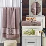 Подарочный набор полотенец для ванной 50х90, 70х140 Merzuka PERA хлопковая махра коричневый, фото, фотография