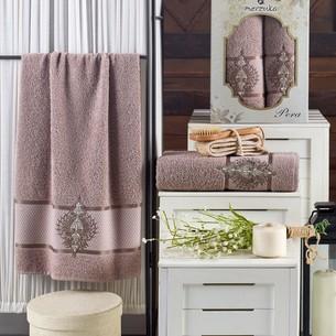Подарочный набор полотенец для ванной 50х90, 70х140 Merzuka PERA хлопковая махра коричневый