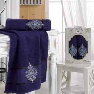 Подарочный набор полотенец для ванной 50х90, 70х140 Merzuka PERA хлопковая махра синий