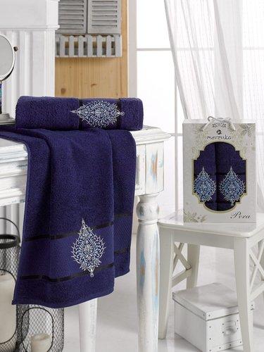 Подарочный набор полотенец для ванной 50х90, 70х140 Merzuka PERA хлопковая махра синий, фото, фотография
