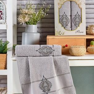 Подарочный набор полотенец для ванной 50х90, 70х140 Merzuka PERA хлопковая махра серый