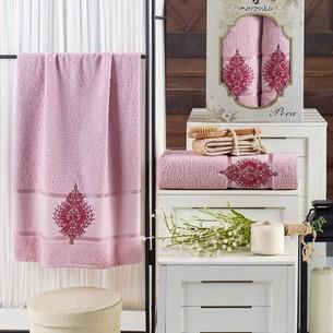 Подарочный набор полотенец для ванной 50х90, 70х140 Merzuka PERA хлопковая махра светло-розовый
