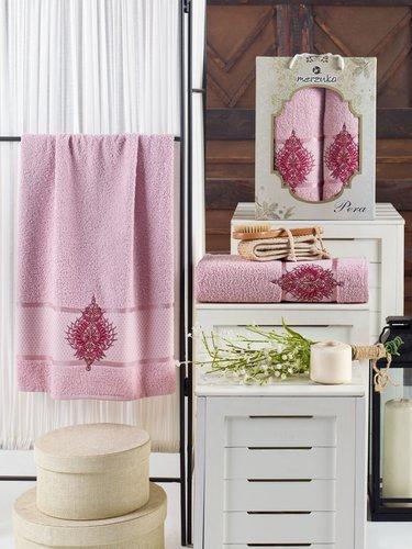 Подарочный набор полотенец для ванной 50х90, 70х140 Merzuka PERA хлопковая махра светло-розовый, фото, фотография