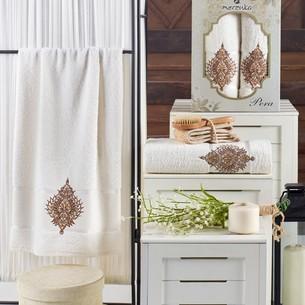 Подарочный набор полотенец для ванной 50х90, 70х140 Merzuka PERA хлопковая махра кремовый