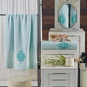 Подарочный набор полотенец для ванной 50х90, 70х140 Merzuka PERA хлопковая махра мятный