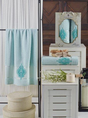 Подарочный набор полотенец для ванной 50х90, 70х140 Merzuka PERA хлопковая махра мятный, фото, фотография