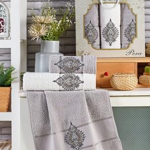 Подарочный набор полотенец для ванной 50х90(2), 70х140(1) Merzuka PERA хлопковая махра серый