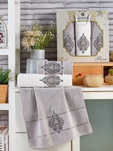 Подарочный набор полотенец для ванной 50х90(2), 70х140(1) Merzuka PERA хлопковая махра серый, фото, фотография