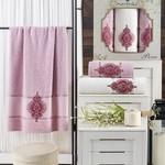Подарочный набор полотенец для ванной 50х90(2), 70х140(1) Merzuka PERA хлопковая махра светло-розовый, фото, фотография