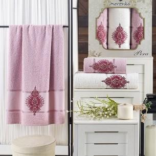 Подарочный набор полотенец для ванной 50х90(2), 70х140(1) Merzuka PERA хлопковая махра светло-розовый