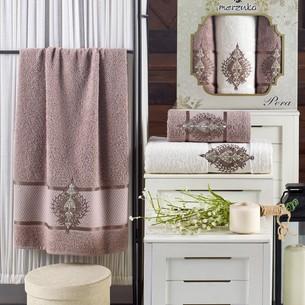 Подарочный набор полотенец для ванной 50х90(2), 70х140(1) Merzuka PERA хлопковая махра коричневый