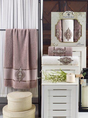 Подарочный набор полотенец для ванной 50х90(2), 70х140(1) Merzuka PERA хлопковая махра коричневый, фото, фотография