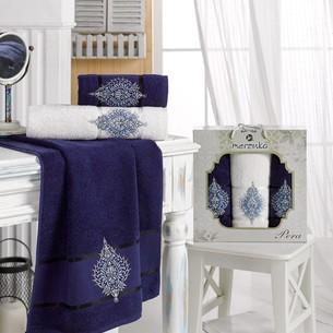 Подарочный набор полотенец для ванной 50х90(2), 70х140(1) Merzuka PERA хлопковая махра синий