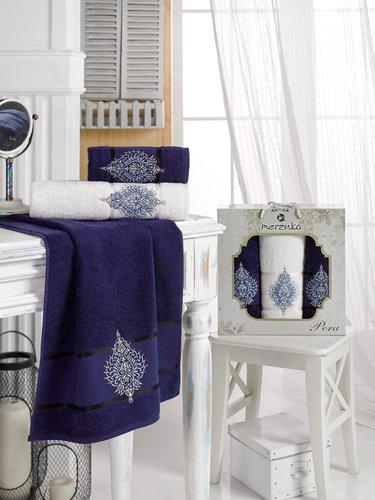 Подарочный набор полотенец для ванной 50х90(2), 70х140(1) Merzuka PERA хлопковая махра синий, фото, фотография