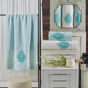 Подарочный набор полотенец для ванной 50х90(2), 70х140(1) Merzuka PERA хлопковая махра мятный