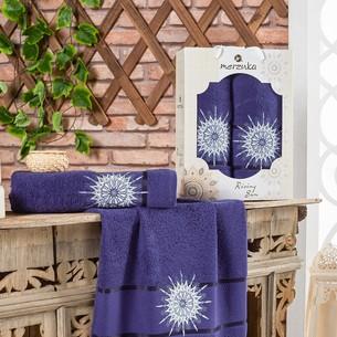 Подарочный набор полотенец для ванной 50х90, 70х140 Merzuka RISING SUN хлопковая махра синий