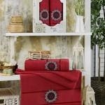 Подарочный набор полотенец для ванной 50х90, 70х140 Merzuka RISING SUN хлопковая махра бордовый, фото, фотография