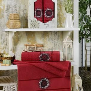 Подарочный набор полотенец для ванной 50х90, 70х140 Merzuka RISING SUN хлопковая махра бордовый