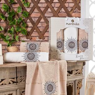Подарочный набор полотенец для ванной 50х90(2), 70х140(1) Merzuka RISING SUN хлопковая махра песочный