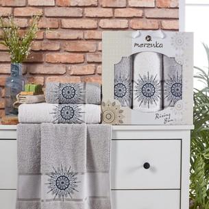 Подарочный набор полотенец для ванной 50х90(2), 70х140(1) Merzuka RISING SUN хлопковая махра серый