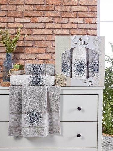 Подарочный набор полотенец для ванной 50х90(2), 70х140(1) Merzuka RISING SUN хлопковая махра серый, фото, фотография