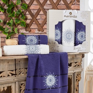 Подарочный набор полотенец для ванной 50х90(2), 70х140(1) Merzuka RISING SUN хлопковая махра синий